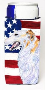 Carolines Treasures SS4231MUK Usa American Flag With Borzoi Michelob Ultra bottle sleeves For Slim Cans - 12 Oz.