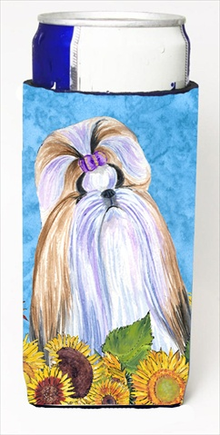 Carolines Treasures SS4234MUK Shih Tzu In Summer Flowers Michelob Ultra bottle sleeves For Slim Cans - 12 Oz.