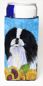 Carolines Treasures SS4236MUK Japanese Chin In Summer Flowers Michelob Ultra bottle sleeves For Slim Cans - 12 Oz.