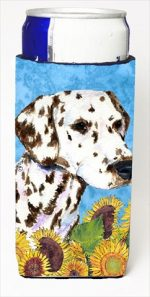 Carolines Treasures SS4238MUK Dalmatian In Summer Flowers Michelob Ultra bottle sleeves For Slim Cans - 12 Oz.