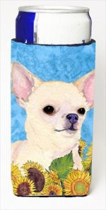 Carolines Treasures SS4241MUK Chihuahua In Summer Flowers Michelob Ultra bottle sleeves For Slim Cans - 12 Oz.