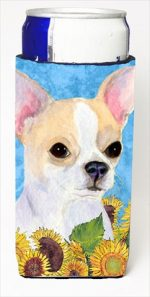 Carolines Treasures SS4243MUK Chihuahua In Summer Flowers Michelob Ultra bottle sleeves For Slim Cans - 12 Oz.