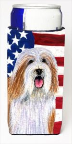 Carolines Treasures SS4245MUK Usa American Flag With Bearded Collie Michelob Ultra bottle sleeves For Slim Cans - 12 Oz.