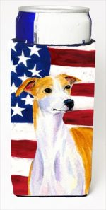 Carolines Treasures SS4246MUK Usa American Flag With Whippet Michelob Ultra bottle sleeves For Slim Cans - 12 Oz.