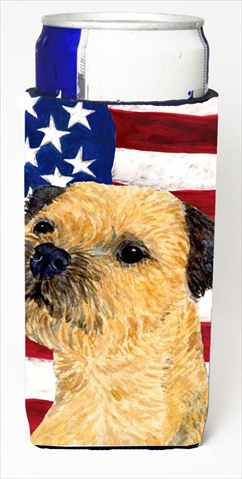 Carolines Treasures SS4247MUK Usa American Flag With Border Terrier Michelob Ultra bottle sleeves For Slim Cans - 12 Oz.