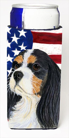Carolines Treasures SS4248MUK Usa American Flag With Cavalier Spaniel Michelob Ultra bottle sleeves For Slim Cans - 12 Oz.