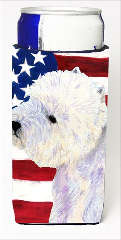 Carolines Treasures SS4249MUK Usa American Flag With Westie Michelob Ultra bottle sleeves For Slim Cans - 12 Oz.
