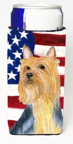 Carolines Treasures SS4250MUK USA American Flag With Silky Terrier Michelob Ultra bottle sleeves For Slim Cans - 12 oz.