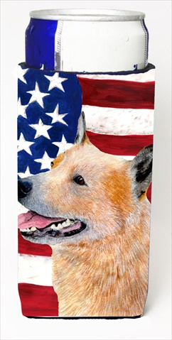 Carolines Treasures SS4251MUK Usa American Flag With Australian Cattle Dog Michelob Ultra bottle sleeves For Slim Cans - 12 Oz.