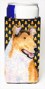 Carolines Treasures SS4263MUK Collie Smooth Candy Corn Halloween Portrait Michelob Ultra bottle sleeves For Slim Cans - 12 Oz.