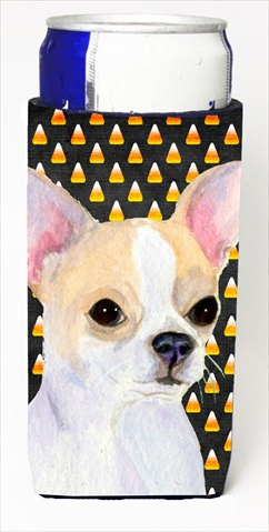 Carolines Treasures SS4267MUK Chihuahua Candy Corn Halloween Portrait Michelob Ultra bottle sleeves For Slim Cans - 12 Oz.