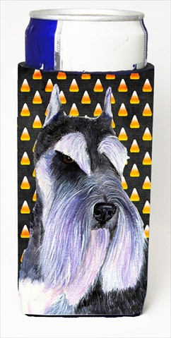 Carolines Treasures SS4270MUK Schnauzer Candy Corn Halloween Portrait Michelob Ultra bottle sleeves For Slim Cans - 12 Oz.