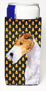 Carolines Treasures SS4271MUK Fox Terrier Candy Corn Halloween Portrait Michelob Ultra bottle sleeves For Slim Cans - 12 Oz.