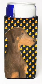 Carolines Treasures SS4272MUK Doberman Candy Corn Halloween Portrait Michelob Ultra bottle sleeves For Slim Cans - 12 Oz.
