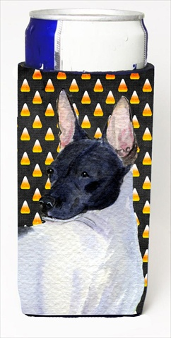Carolines Treasures SS4273MUK Rat Terrier Candy Corn Halloween Portrait Michelob Ultra bottle sleeves For Slim Cans - 12 Oz.