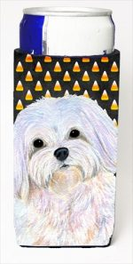 Carolines Treasures SS4275MUK Maltese Candy Corn Halloween Portrait Michelob Ultra bottle sleeves For Slim Cans - 12 Oz.