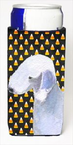 Carolines Treasures SS4276MUK Bedlington Terrier Candy Corn Halloween Portrait Michelob Ultra bottle sleeves For Slim Cans - 12 Oz.