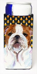 Carolines Treasures SS4277MUK Bulldog English Candy Corn Halloween Portrait Michelob Ultra bottle sleeves For Slim Cans - 12 Oz.