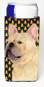 Carolines Treasures SS4278MUK French Bulldog Candy Corn Halloween Portrait Michelob Ultra bottle sleeves For Slim Cans - 12 Oz.