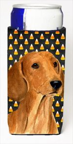 Carolines Treasures SS4280MUK Dachshund Candy Corn Halloween Portrait Michelob Ultra bottle sleeves For Slim Cans - 12 Oz.