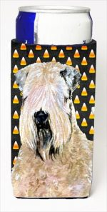 Carolines Treasures SS4281MUK Wheaten Terrier Soft Coated Candy Corn Halloween Portrait Michelob Ultra bottle sleeves For Slim Cans - 12 Oz.