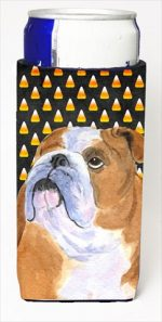 Carolines Treasures SS4285MUK Bulldog English Candy Corn Halloween Portrait Michelob Ultra bottle sleeves For Slim Cans - 12 Oz.