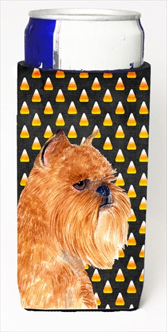 Carolines Treasures SS4287MUK Brussels Griffon Candy Corn Halloween Portrait Michelob Ultra bottle sleeves For Slim Cans - 12 Oz.