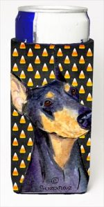 Carolines Treasures SS4288MUK Doberman Candy Corn Halloween Portrait Michelob Ultra bottle sleeves For Slim Cans - 12 Oz.
