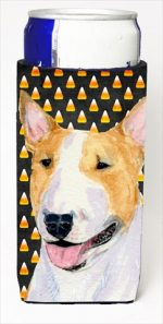 Carolines Treasures SS4289MUK Bull Terrier Candy Corn Halloween Portrait Michelob Ultra bottle sleeves For Slim Cans - 12 Oz.