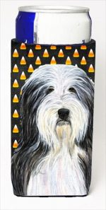 Carolines Treasures SS4290MUK Bearded Collie Candy Corn Halloween Portrait Michelob Ultra bottle sleeves For Slim Cans - 12 Oz.