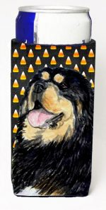 Carolines Treasures SS4305MUK Tibetan Mastiff Candy Corn Halloween Portrait Michelob Ultra s For Slim Cans - 12 oz.