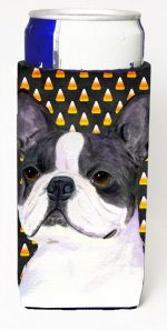 Carolines Treasures SS4309MUK Boston Terrier Candy Corn Halloween Portrait Michelob Ultra s For Slim Cans - 12 oz.