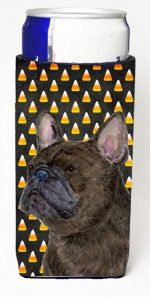 Carolines Treasures SS4312MUK French Bulldog Candy Corn Halloween Portrait Michelob Ultra s For Slim Cans - 12 oz.