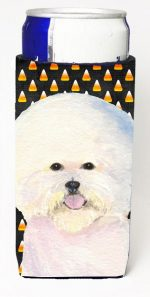 Carolines Treasures SS4319MUK Bichon Frise Candy Corn Halloween Portrait Michelob Ultra s For Slim Cans - 12 oz.