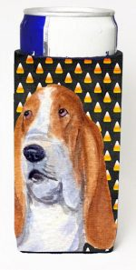 Carolines Treasures SS4321MUK Basset Hound Candy Corn Halloween Portrait Michelob Ultra s For Slim Cans - 12 oz.