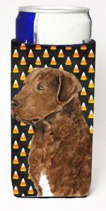 Carolines Treasures SS4324MUK Chesapeake Bay Retriever Wheaten Candy Corn Halloween Portrait Michelob Ultra s For Slim Cans - 12 oz.