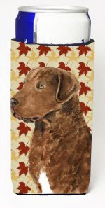 Carolines Treasures SS4325MUK Chesapeake Bay Retriever Fall Leaves Portrait Michelob Ultra s For Slim Cans - 12 oz.