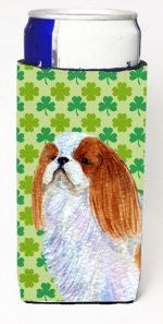 Carolines Treasures SS4438MUK English Toy Spaniel St. Patricks Day Shamrock Portrait Michelob Ultra bottle sleeves For Slim Cans - 12 oz.