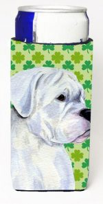 Carolines Treasures SS4440MUK Boxer St. Patricks Day Shamrock Portrait Michelob Ultra bottle sleeves For Slim Cans - 12 oz.