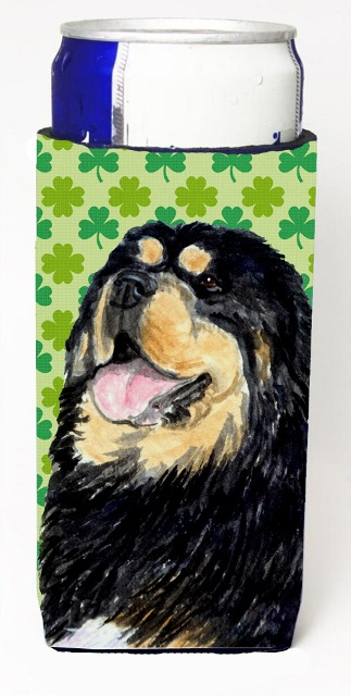 Carolines Treasures SS4443MUK Tibetan Mastiff St. Patricks Day Shamrock Portrait Michelob Ultra bottle sleeves For Slim Cans - 12 oz.