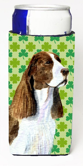 Carolines Treasures SS4444MUK Springer Spaniel St. Patricks Day Shamrock Portrait Michelob Ultra bottle sleeves For Slim Cans - 12 oz.
