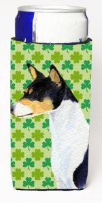 Carolines Treasures SS4445MUK Basenji St. Patricks Day Shamrock Portrait Michelob Ultra bottle sleeves For Slim Cans - 12 oz.