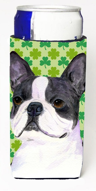 Carolines Treasures SS4447MUK Boston Terrier St. Patricks Day Shamrock Portrait Michelob Ultra bottle sleeves For Slim Cans - 12 oz.