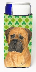 Carolines Treasures SS4448MUK Bullmastiff St. Patricks Day Shamrock Portrait Michelob Ultra bottle sleeves For Slim Cans - 12 oz.