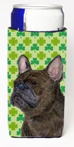 Carolines Treasures SS4450MUK French Bulldog St. Patricks Day Shamrock Portrait Michelob Ultra bottle sleeves For Slim Cans - 12 oz.