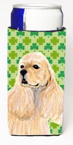Carolines Treasures SS4453MUK Cocker Spaniel St. Patricks Day Shamrock Portrait Michelob Ultra bottle sleeves For Slim Cans - 12 oz.