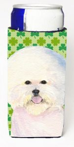 Carolines Treasures SS4457MUK Bichon Frise St. Patricks Day Shamrock Portrait Michelob Ultra bottle sleeves For Slim Cans - 12 oz.