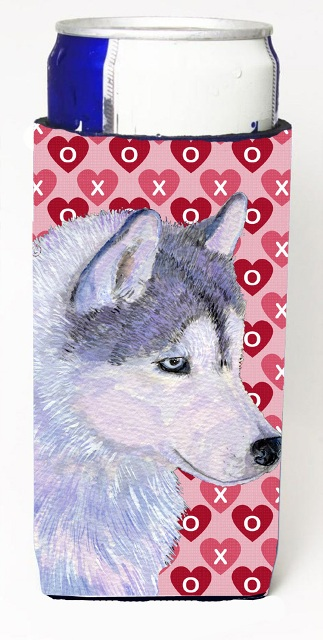 Carolines Treasures SS4464MUK Siberian Husky Hearts Love Valentines Day Michelob Ultra bottle sleeves For Slim Cans - 12 oz.