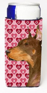 Carolines Treasures SS4468MUK Doberman Hearts Love And Valentines Day Portrait Michelob Ultra bottle sleeves For Slim Cans - 12 oz.