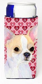 Carolines Treasures SS4474MUK Chihuahua Hearts Love And Valentines Day Portrait Michelob Ultra bottle sleeves For Slim Cans - 12 oz.